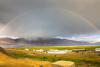 Tso Moriri Lake  - Beautiful rainbow spans a high altitude (over 15000 ft) lake.
