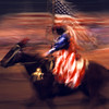 Riding horse American flag display at the National Western Stock Show, Denver, Colorado.