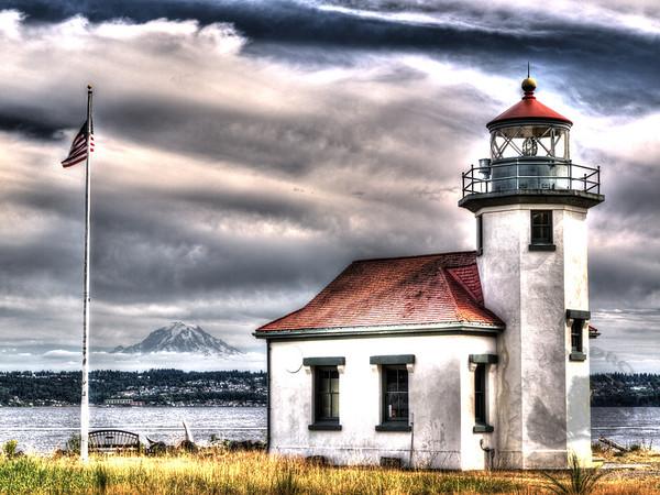 Vashon Island Lighthouse and Mount Rainier