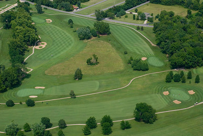 An aerial view of holes 6, 7, 8, and 10 at Lake Valley Golf & Country Club outside Camdenton, Missouri.