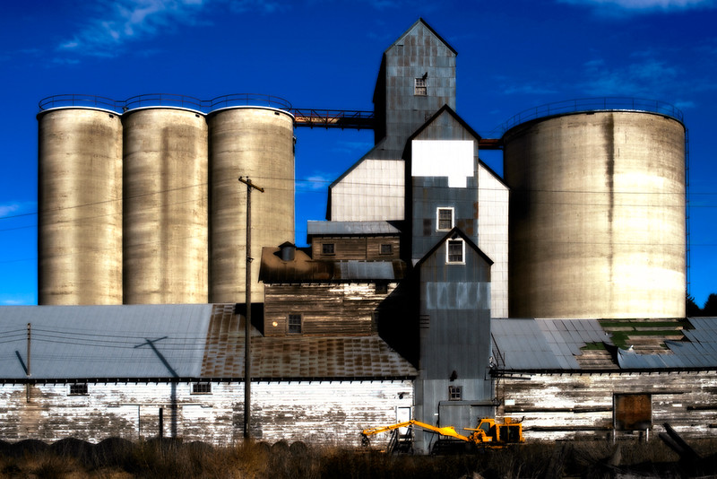 Grain elevators in Rosalia, Washington.  The Palouse area