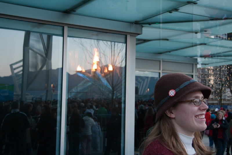 Heather viewing the Olympic Torch - Vancouver, BC, Feb. 2010