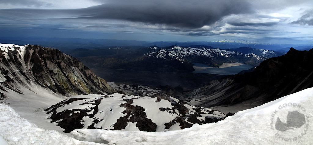 Looking down into the crater of Mount St Helens and on to Spirit Lake and Mount Rainier.  14mm f/9 1/160 sec. Zuiko 14-54 f/2.8-3.5 lens.
