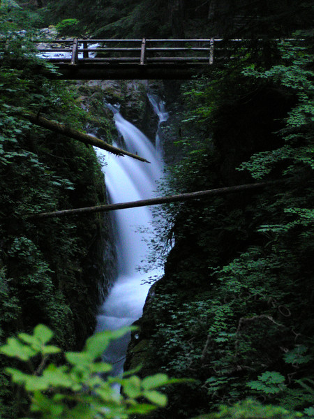Sol Duc Falls and bridge at dusk. Olympic National Park.