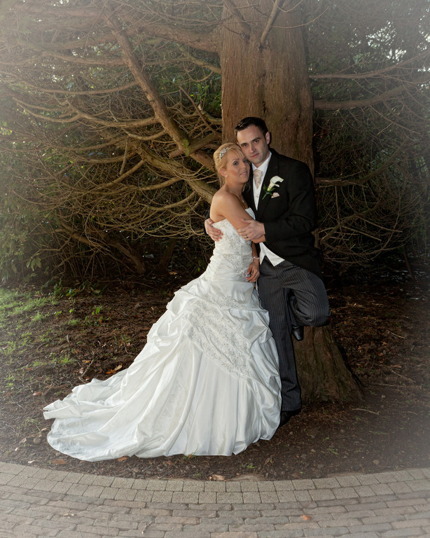 David and Lynsey on their wedding day at the Galgorm Manor