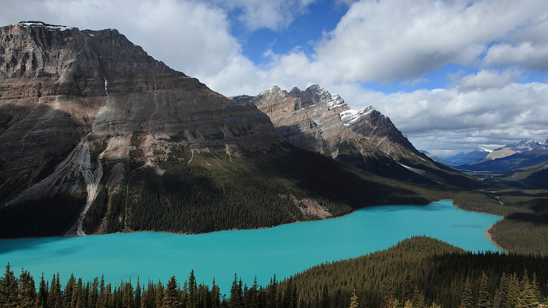 Looking north onto Peyto Lake and the Bow valley (right center) that leads into Jasper National Park beyond