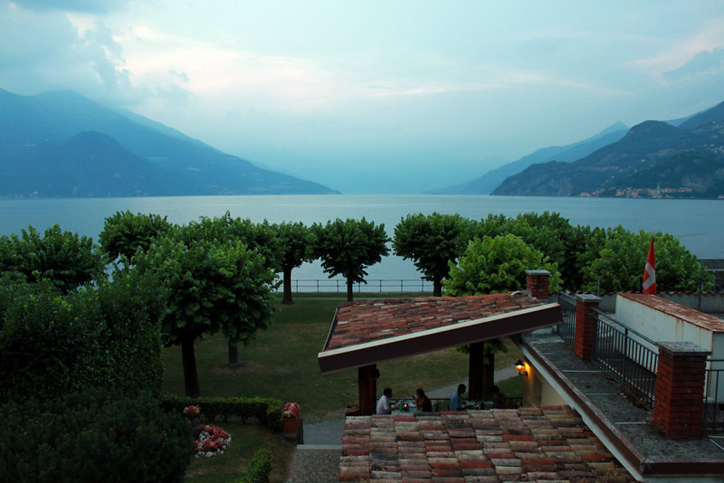 Cafe on the far end of the town of Bellagio offers magnificent views of the Maggiore lake