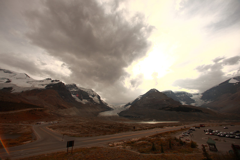 The athabasca glacier is in the center. It is fed by the columbia icefield (behind the glacier and not seen from this viewpoint), which is the largest non-polar ice mass in north america.