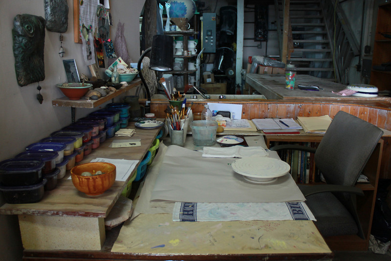 Work area of a clay and earthen ware artist in Bermuda