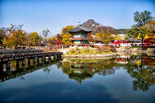 Hyangwonjeong Pavilion. Gyeongbokgung Palace. Seoul, South Korea. November, 2012