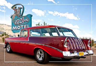 Nomad composite.  Although the 56 Nomad is at the base of the Sandia Mountains, the El Don Motel sign and the Route 66 sign are miles away from home.