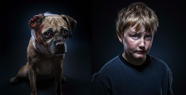 Portraits of a young boy, and similar looking injured dog.