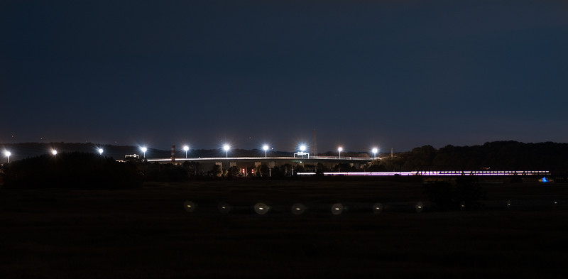 Baldwin & Railroad Bridges at Night.<br /> Taken from Founders Memorial Park<br /> Old Saybrook, CT