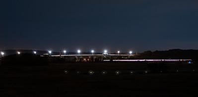 Baldwin & Railroad Bridges at Night. Taken from Founders Memorial Park Old Saybrook, CT