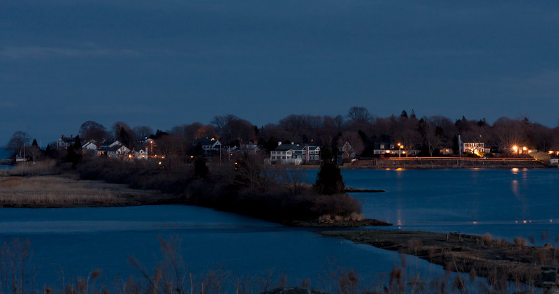 The old railroad bed at night. Headlights along the waterfront road.<br /> North Cove, Old Saybrook, CT