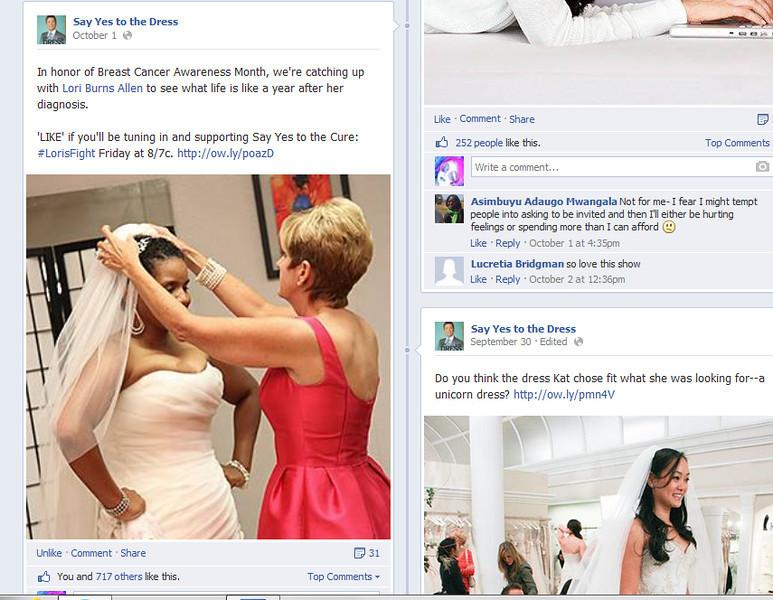 "My photo of Delese and Lori on the FB page for ""Say Yes to the Dress""! :)"