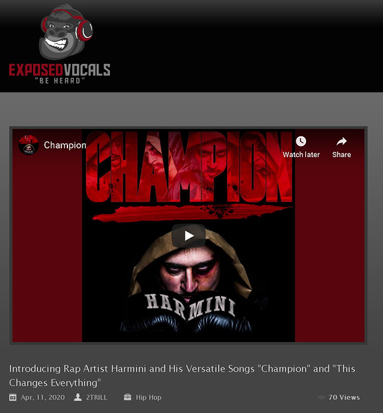 "Feature on Exposed Vocals - Harmini ""Champion"" April 2020"