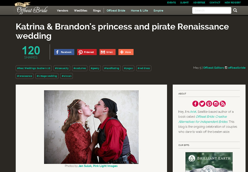 Offbeat Bride feature - Brandon & Katrina's Renaissance Pirate/Princess wedding at Scarborough
