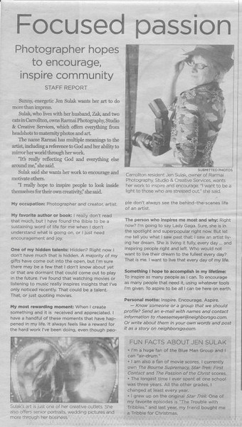 """Focused Passion"" newspaper article about me and my photography passions."
