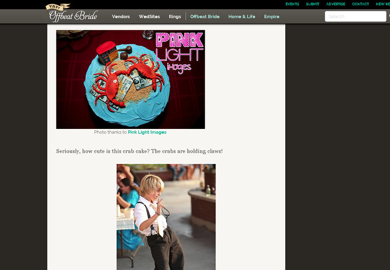 Offbeat Bride feature - engagement party Crab cake!