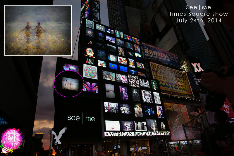 See|Me Times Square billboard collage show - July 24, 2014.<br /> Times Square, NYC<br /> For one hour our images scrolled on the large American Eagle billboards. :)<br /> Self Portrait, Galveston TX