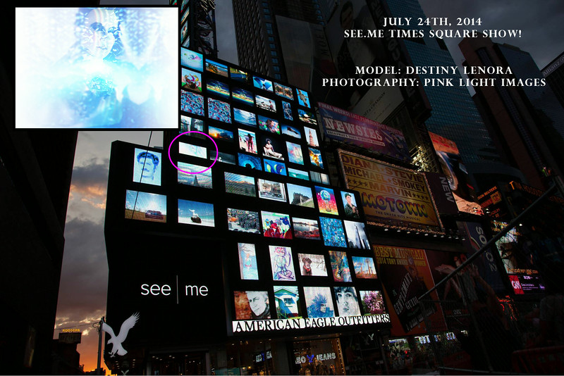 See|Me Times Square billboard collage show - July 24, 2014.<br /> Times Square, NYC<br /> For one hour our images scrolled on the large American Eagle billboards. :)<br /> Model: Destiny Lenora