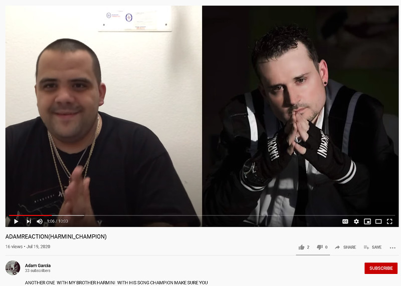 Harmini - Adam Garcia - music reaction Youtube - Pink Light Images July 19, 2020