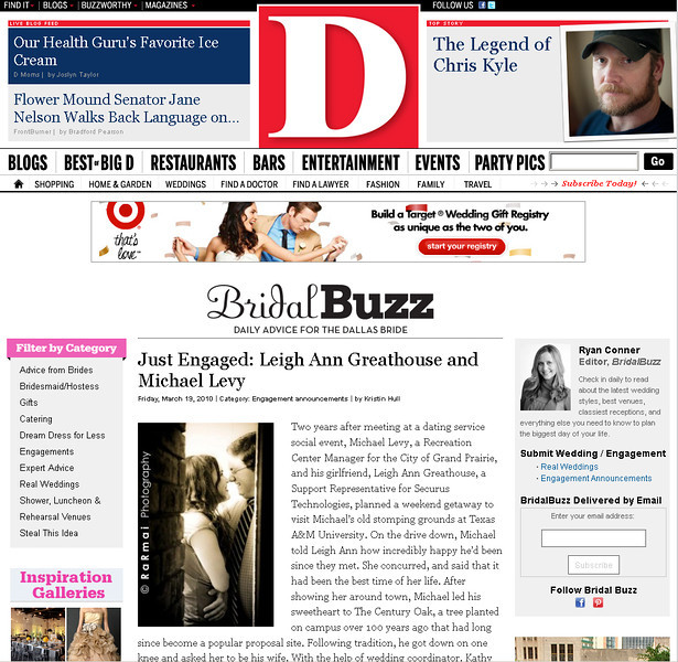 D Magazine feature: Bridal Buzz for Leighann & Michael! 2010