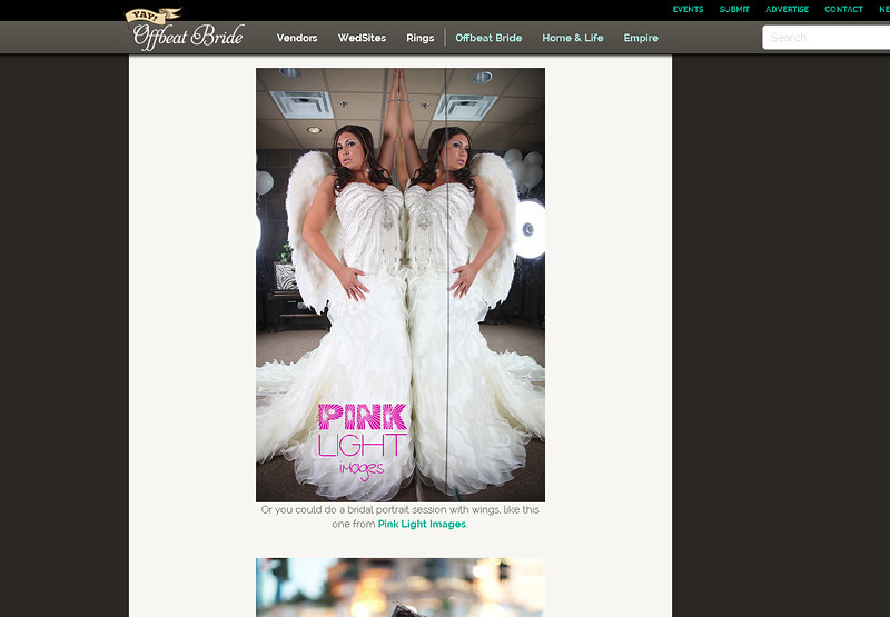 Offbeat Bride feature - Brandi's angel wings - bridal portraits