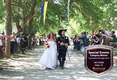 WINNER of Special Events Category at the Scarborough Renaissance Festival - December 2014. - Images like this tell it all.  The beautiful grounds at the Faire as well as a super super happy couple celebrating their vows!!!!  PUBLISHED:  in the 2015 season Program