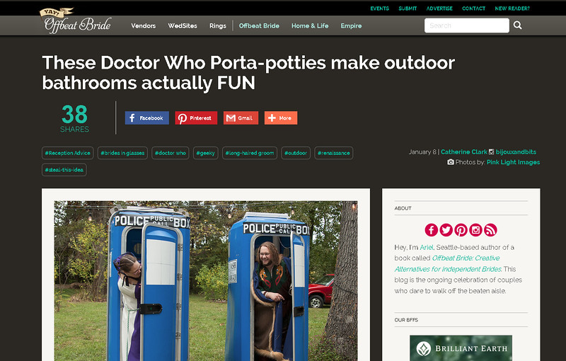 Offbeat Bride feature - Tardis Porta Potties - Rae & Jason