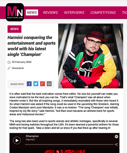 Features on Music News.com - Harmini - 2/3/2020
