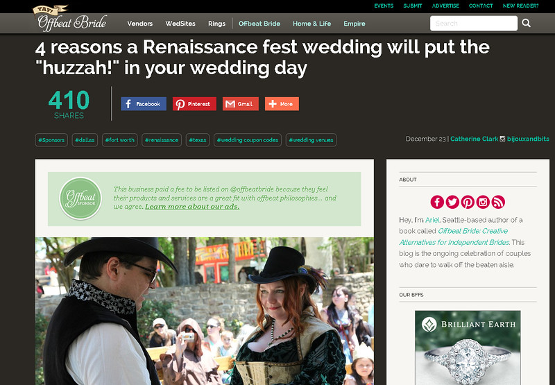 Offbeat Bride feature - Scarborough Renaissance Festival - Jason & Vanessa