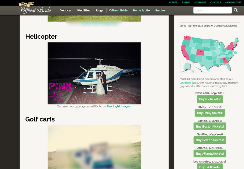 """Offbeat Bride feature - Brandi & Time's """"getaway"""" helicopter"""