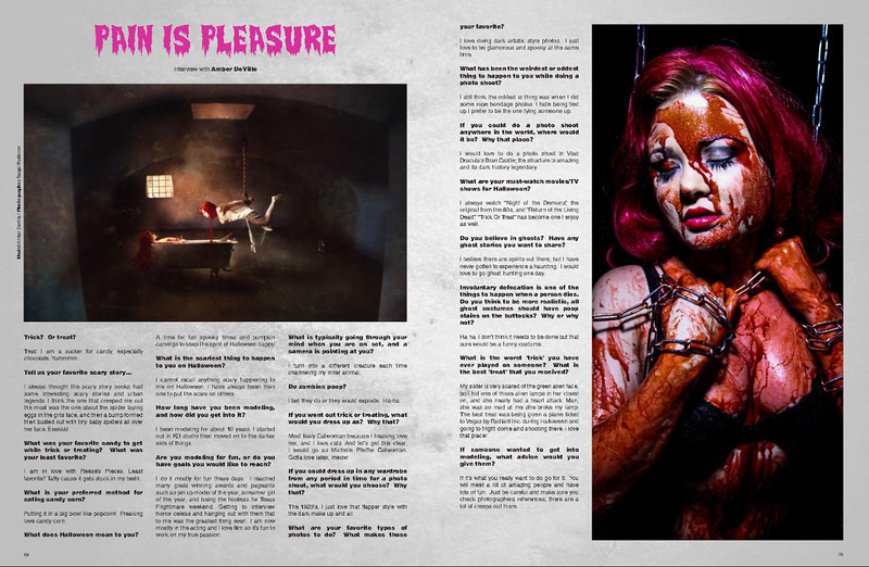 Necro Girls Magazine - publication 10/31/13 - Halloween Edition.<br /> Feature on Amber Deville - Photographs concept Hellraiser Series.<br /> Photography: Pink Light Images