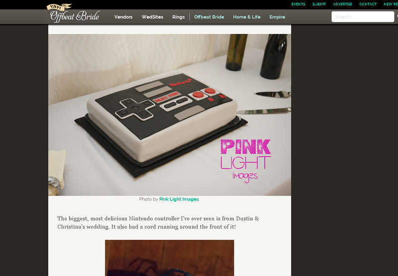 Offbeat Bride feature - Nintendo cake!