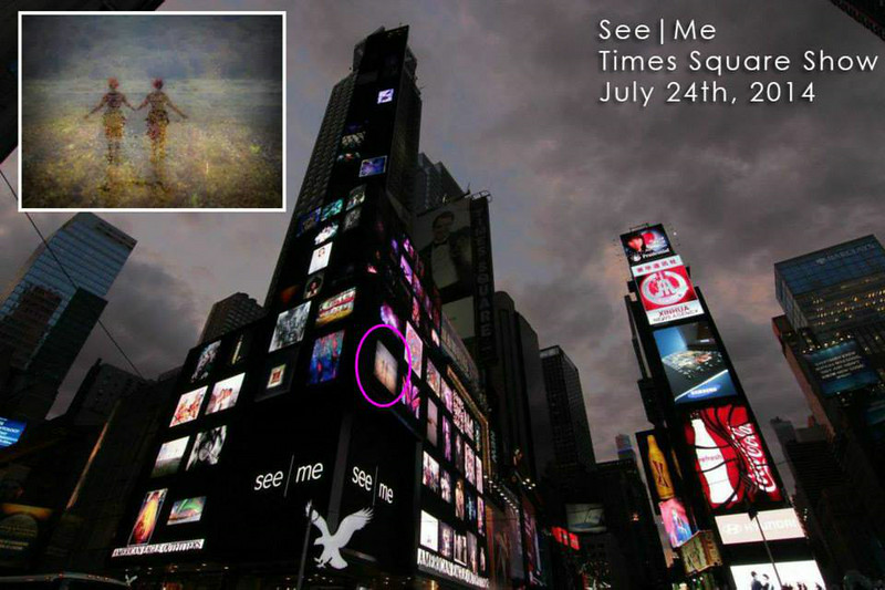 See|Me Times Square billboard collage show - July 24, 2014.<br /> Times Square, NYC<br /> For one hour our images scrolled on the large American Eagle billboards. :)<br /> Self Portrait - Galveston TX