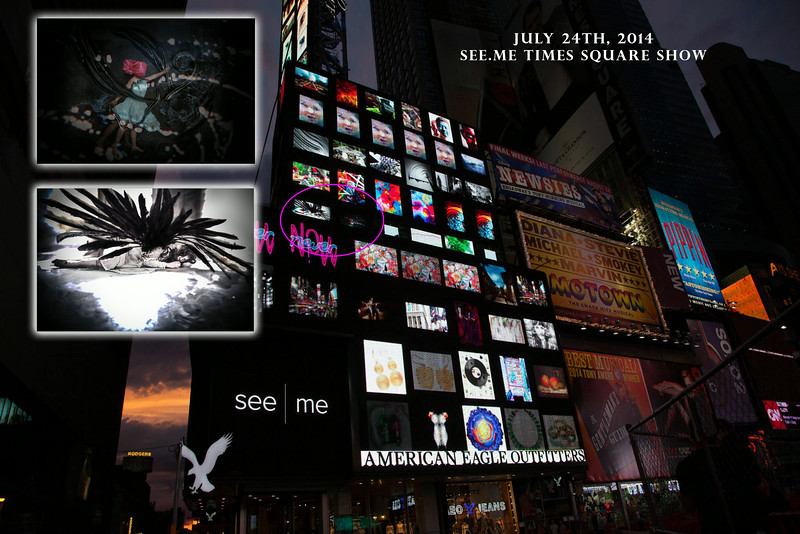 See|Me Times Square billboard collage show - July 24, 2014.<br /> Times Square, NYC<br /> For one hour our images scrolled on the large American Eagle billboards. :)<br /> Model: Jane Love, Jen Sulak