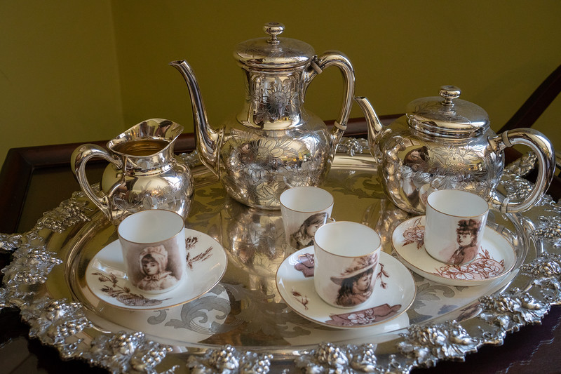 Tea set with teacups painted by Eva Fenyes