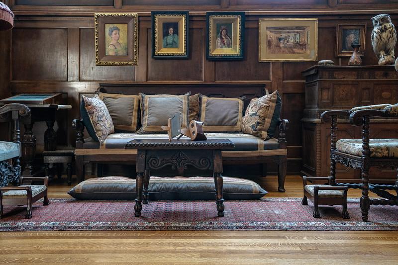 Seating arrangement in studio addition, Fenyes Mansion
