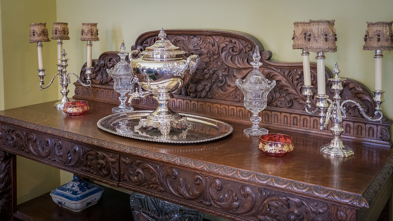 Ornate sideboard at Fenyes Mansion
