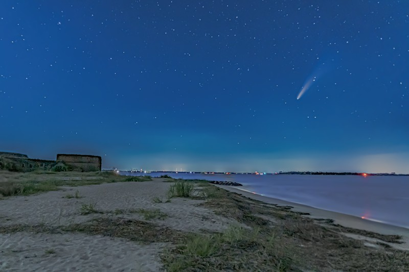 Comet Neowise over St. Marys River at Fort Clinch Florida