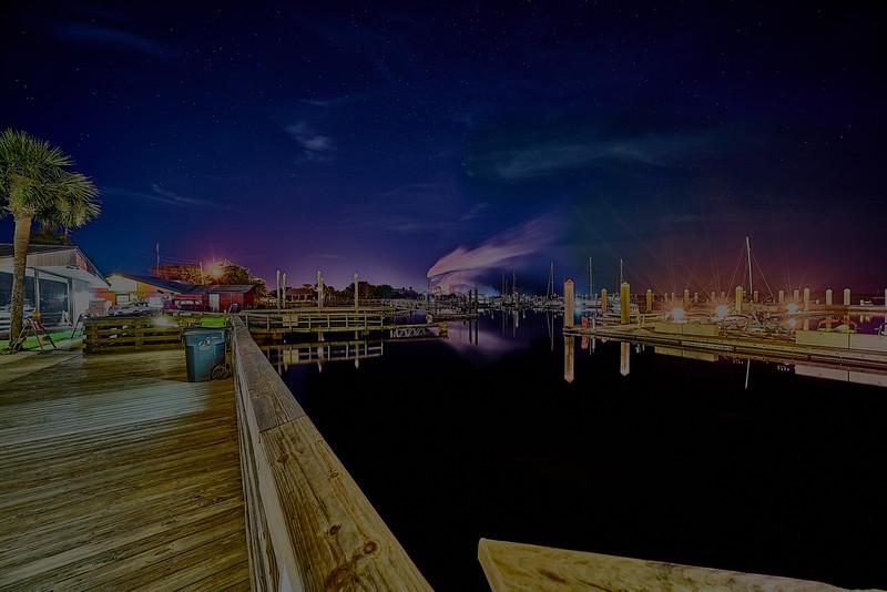 Marina Reflections under the Stars