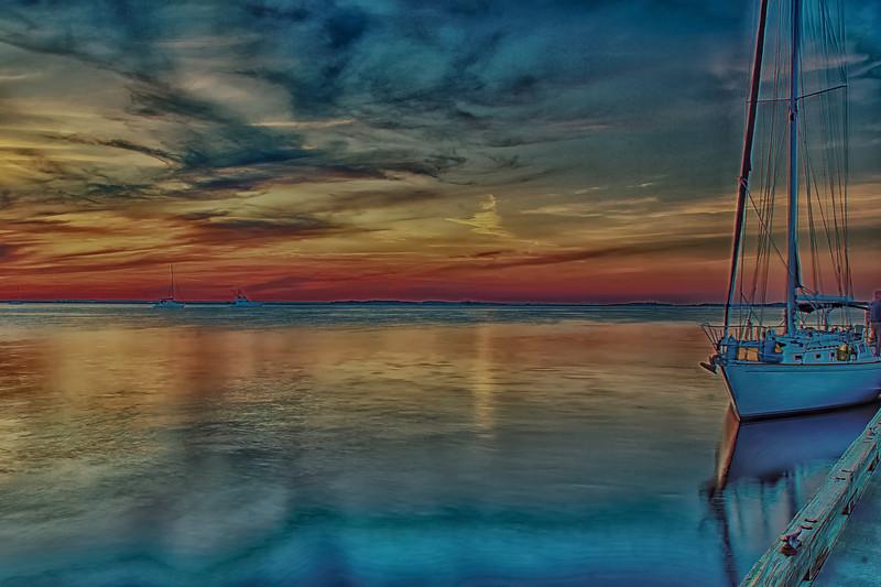 Fernandina Florida Dock Sunset. The dock, boats, and people moving.PP! Nik Collection HDR Efex Pro 2, Dfine 2, Viveza 2, Color Efex Pro 4,Sharpener Pro 3.