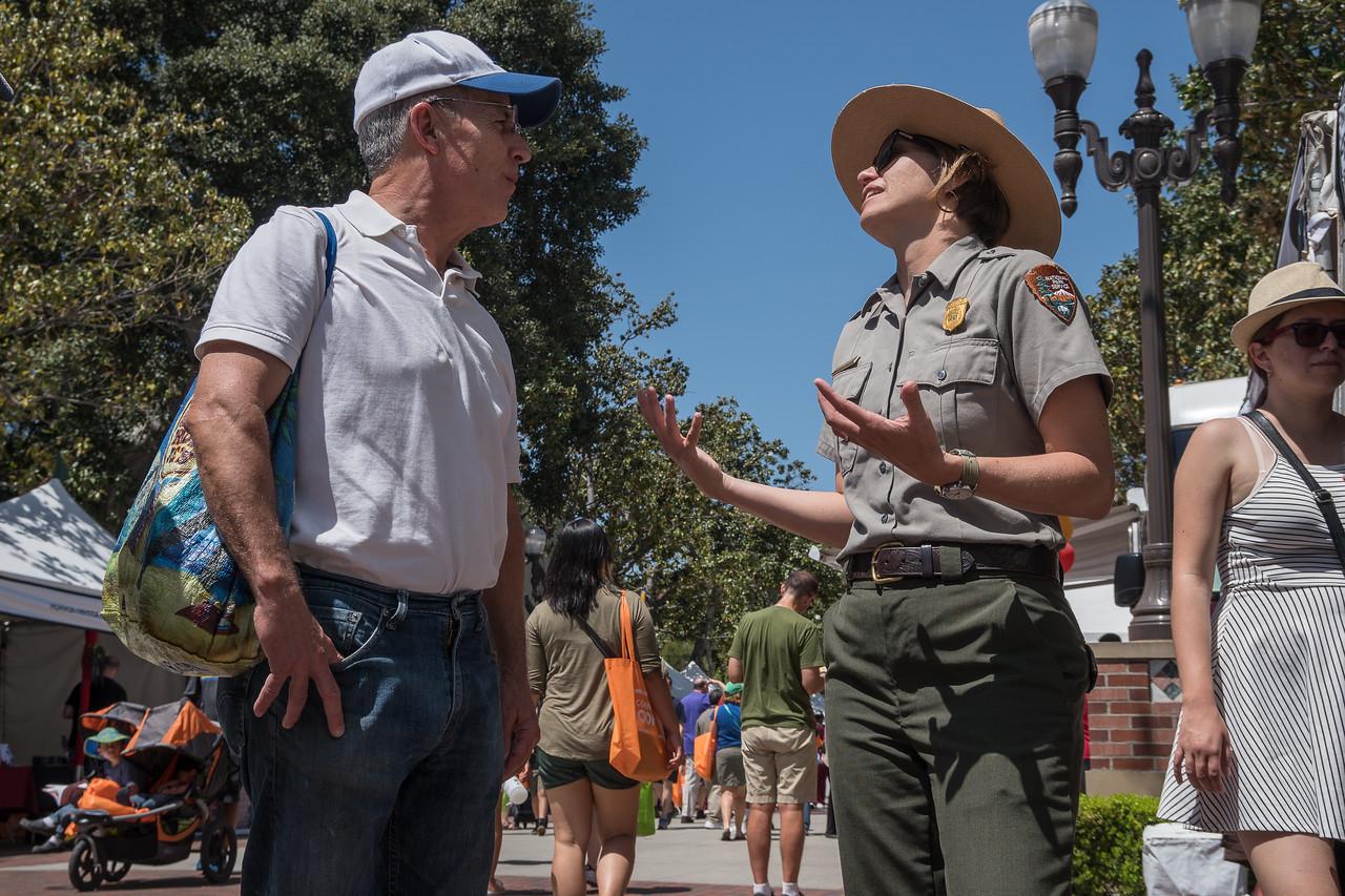 A park ranger explaining about mountain lions