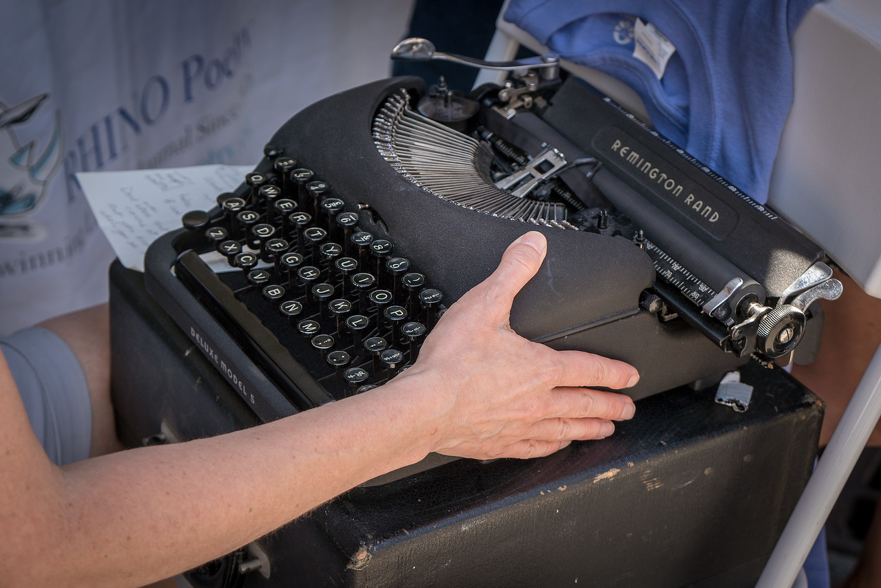 Writing, the old-fashioned way on a Remington Rand Typewriter