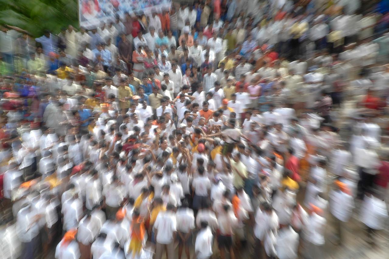"Krishna Janamashtmi Celebrations in Hiranandani Gardens, Powai Lake, Mumbai. India. The objective is to make a human pyramid and break a ""handi"" (Pot) on the top much like Lord Krishna used to do."
