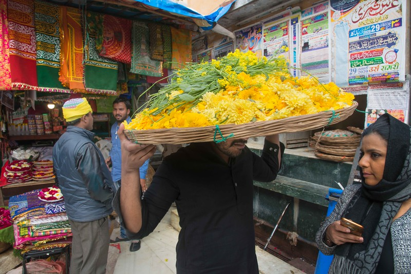 "A man carries marigold petals before towards the dargah before the ""chadar ceremony"" begins."