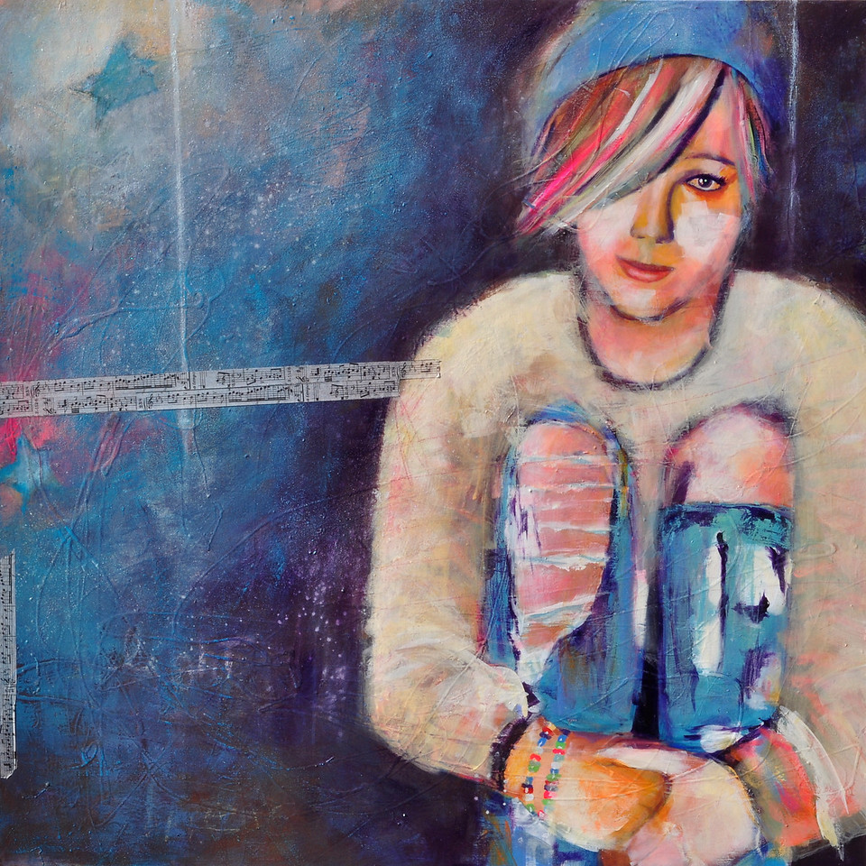 "Colorful Teen 2; She hears the Music<br /> Mixed Media on Canvas,<br /> 36""x36""<br /> Private Collection"