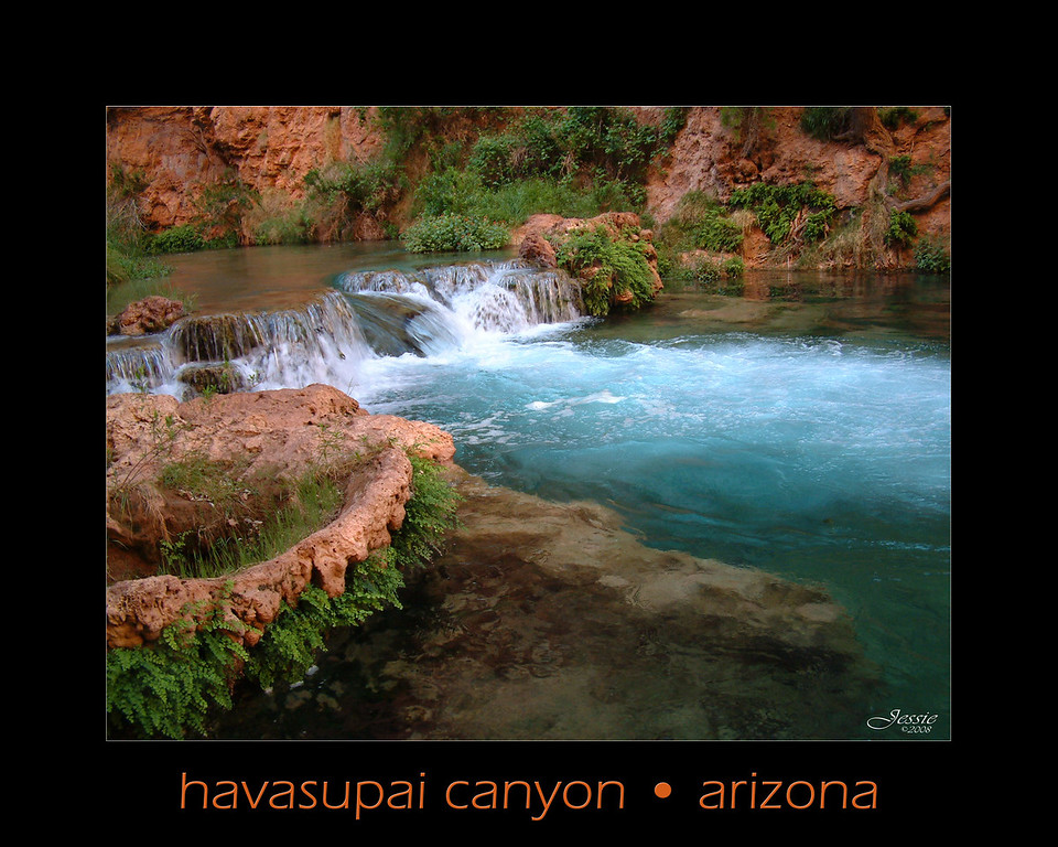 """Havasupai"" means ""people of the blue-green waters.  Havasupai canyon is home to the Havasupai Indian Tribe and they have lived on their land for over 800 years.  The creek runs through the village of Supai, and it ultimately flows into the Colorado River.  Located in Northeastern Arizona this remote canyon is a side branch of the Grand Canyon.  <br /> ORDER #34164"